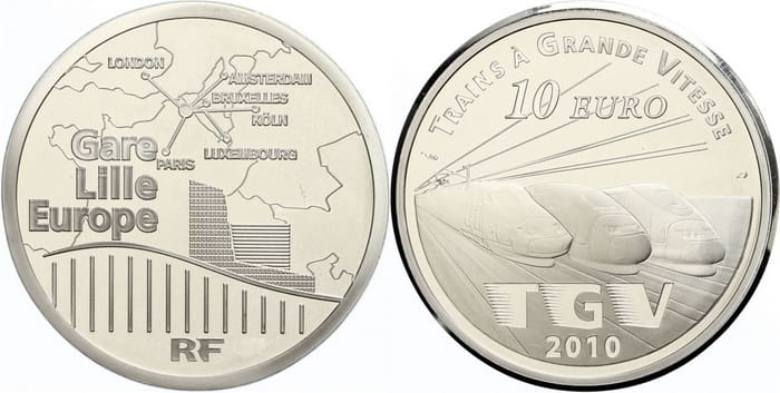 commemorative silver coins of France 2010