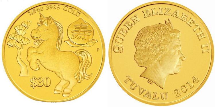 Золотая монета Тувалу 2014 года