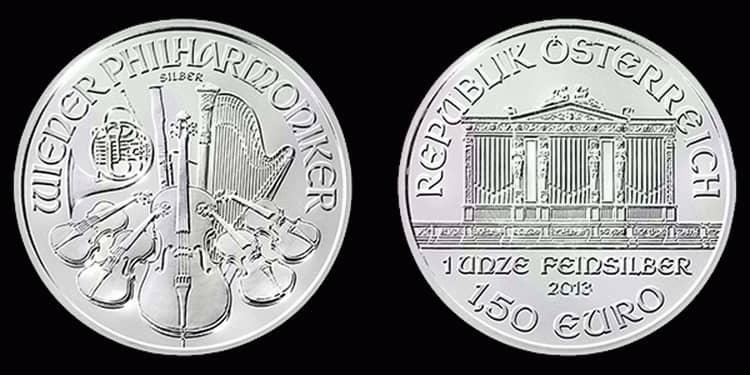 Серебряная монета Европейского Союза 2013 года
