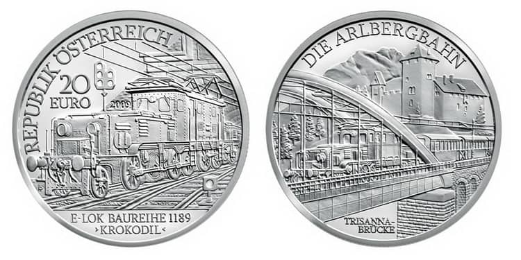 Одни из первых серебряных монет Европейского Союза