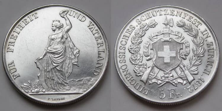 Швейцарские серебряные монеты