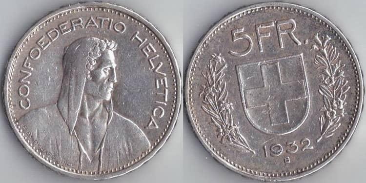 Характеристики серебряных монет Швейцарии 5 франков 1931-1969