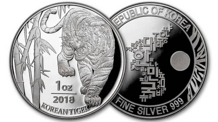 Серебряная монета Южной Кореи 2018 года