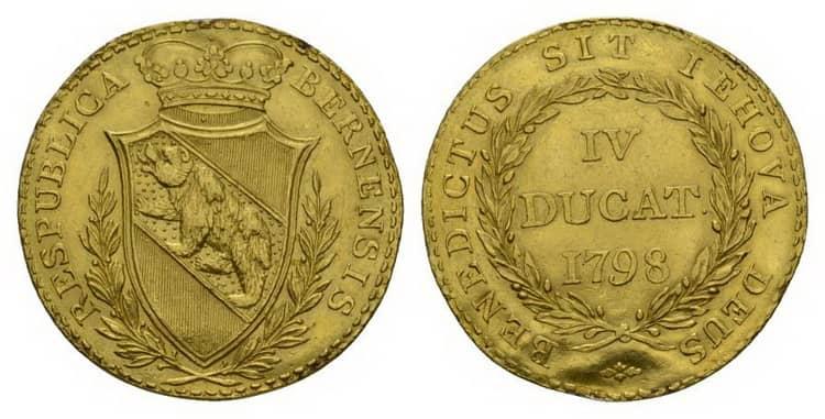 Швейцарская золотая монета 1798 года