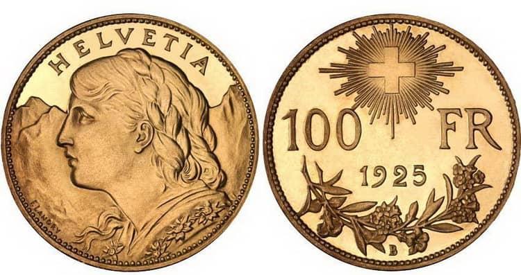 Золотая монета Швейцарии 1925 года