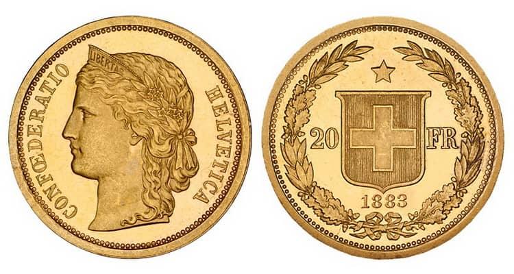 Характеристики золотой монеты Швейцарии 20 франков 1883 года
