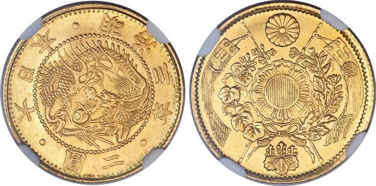 Характеристики золотых монет Японии 2 йены 1870 года